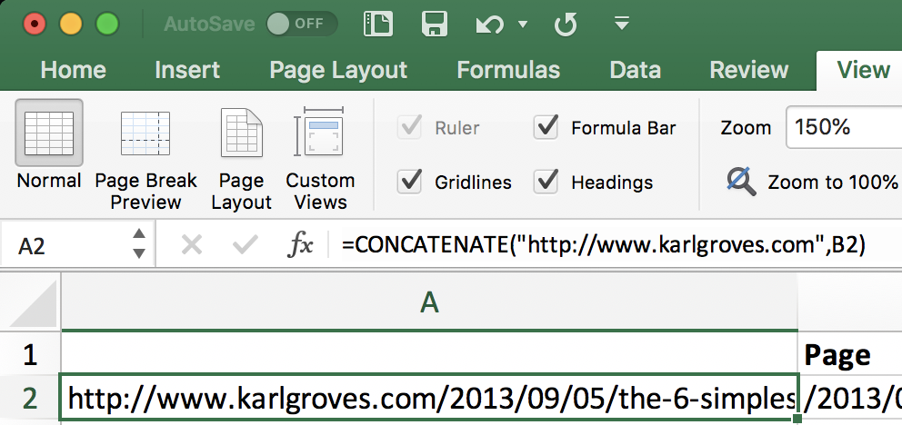 Screenshot showing the concatenate function in use