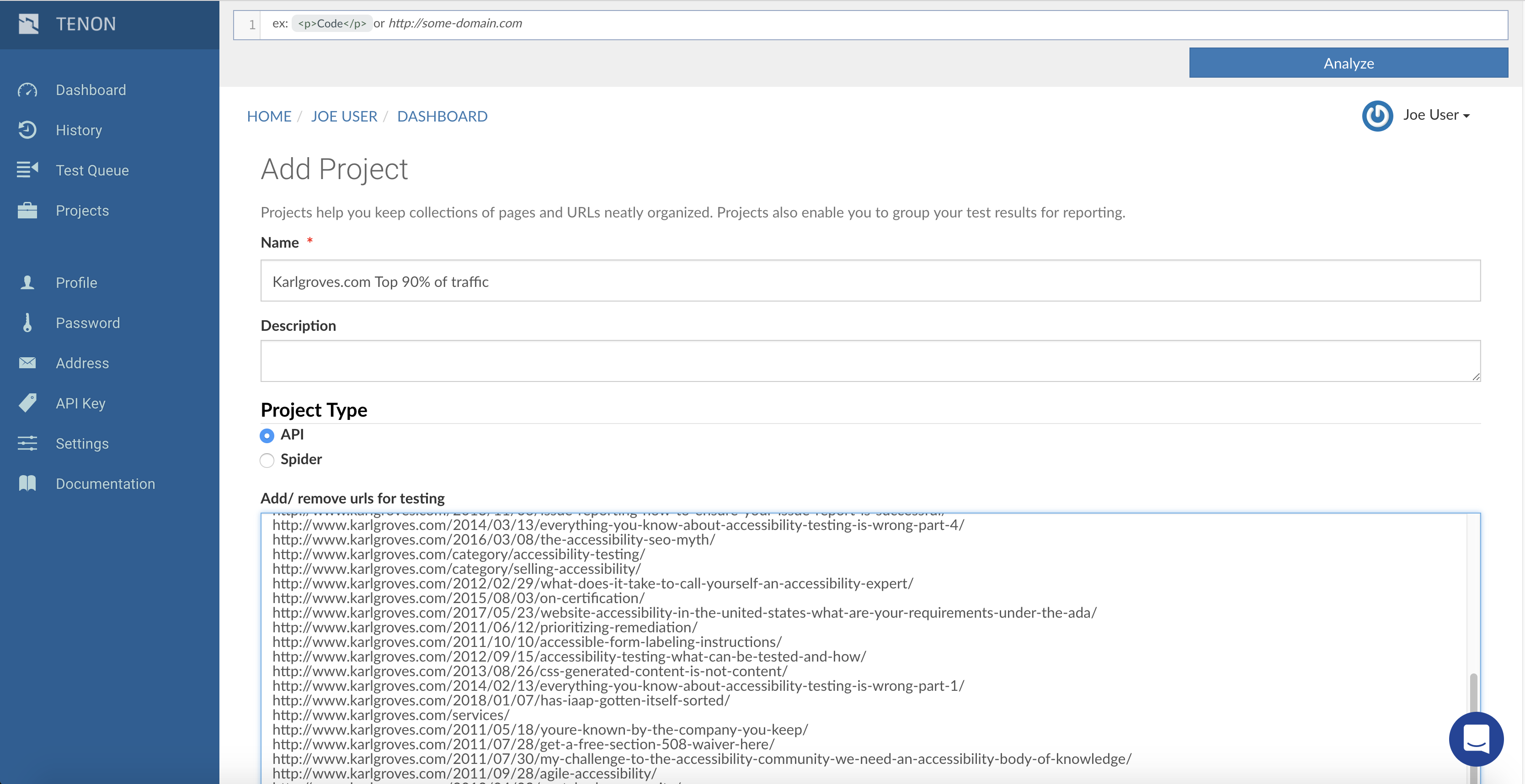 Screenshot of the Add project page with URLs pasted into the appropriate field.