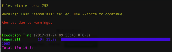 Screenshot of Terminal output showing that there were 752 files with errors