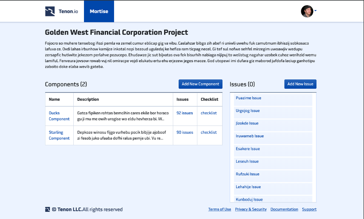 Screenshot of a Mortise project's components list screen showing each component and also a list of issues