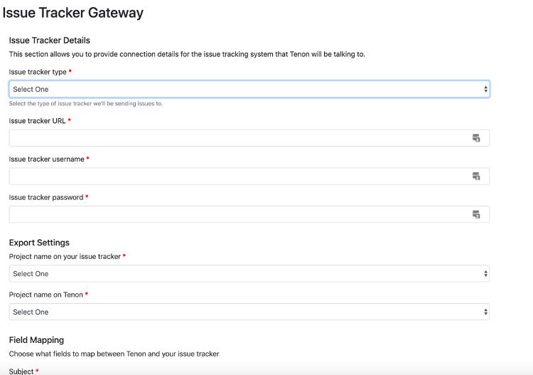 Screenshot of Mortise's Issue Tracker Gateway